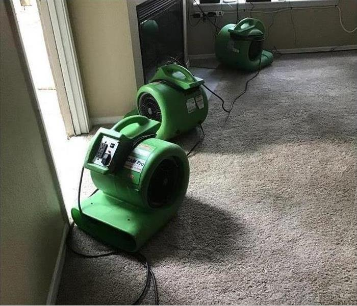 air movers placed on carpet