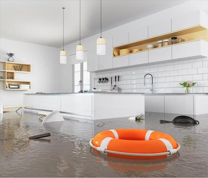 flooded kitchen with floating life preserver
