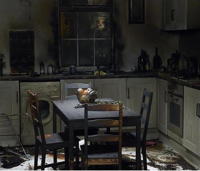 charred kitchen after fire